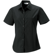 Ladies' short-sleeved pure cotton poplin shirt
