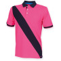 Diagonal stripe house cotton polo shirt bright pink / navy m
