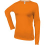 Dames t-shirt ronde hals lange mouwen orange l