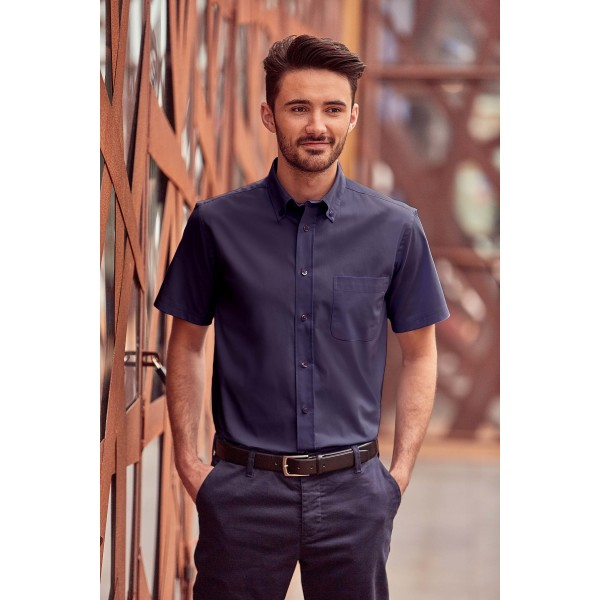 Men's short-sleeved twill shirt