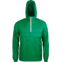 Ongevoerde windbreaker met halsrits kelly green / white m