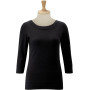 3/4 sleeve stretch top black s