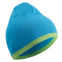 Beanie with Contrasting Border turquoise/lime