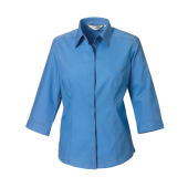 Ladies 3/4 Sleeve PolyCotton Easy Care Fitted Poplin Shirt