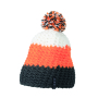 Crocheted Cap with Pompon carbon/oranje/wit