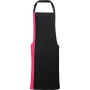 Contrast bib apron black / hot pink one size