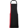Contrast bib apron black / red one size