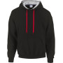 Heavy blend™ classic fit adult contrast hooded sweatshirt black / red xl