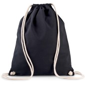 Organic cotton backpack with drawstring carry handles