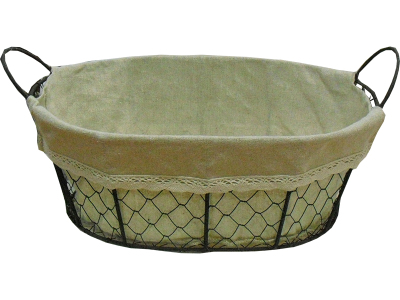 An oval metalbasket with 2  handles, with fabric lining