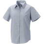 Ladies short sleeve easy care oxford shirt silver xs