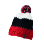 Crocheted Cap with Pompon rood/zwart/wit