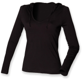 Ladies long sleeved hooded t-shirt