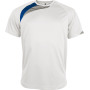Kindersportshirt white / sporty royal blue / storm grey 12/14