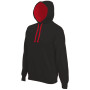Hooded sweater met gecontrasteerde capuchon black / red 3xl