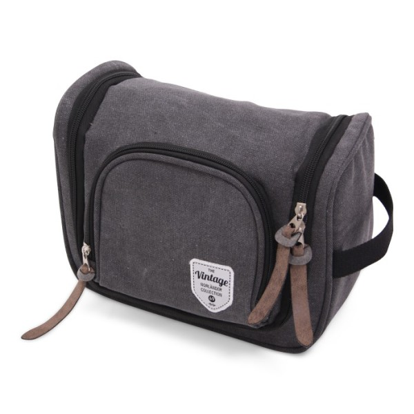 Vintage Canvas Cosmeticbag Deluxe with Hook - Grey