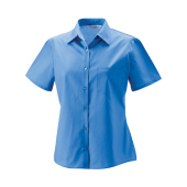 Dames Poly-Cotton Easy Care Poplin Shirt met Korte mouwen
