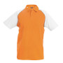 Kinderbaseballpolo orange / white 12/14