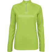 Ladies' long-sleeved zip neck quick-dry t-shirt