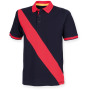 Diagonal stripe house cotton polo shirt navy / red xl