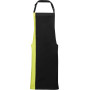 Contrast bib apron black / lime one size