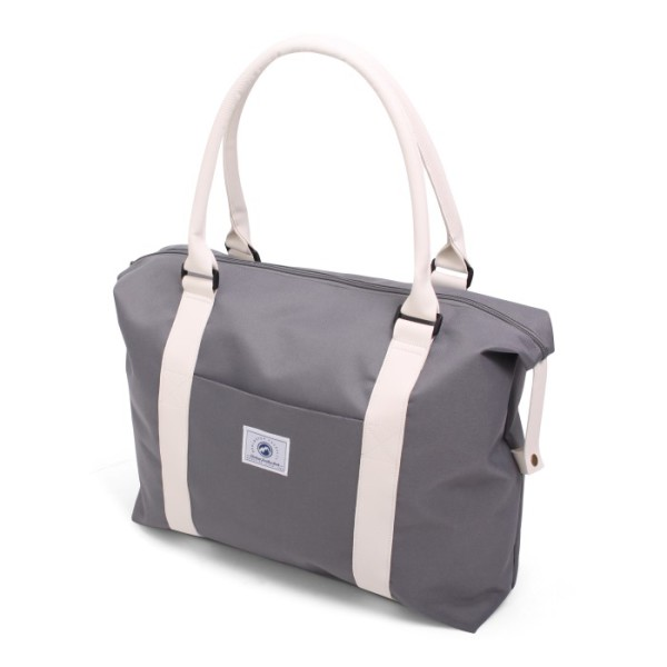Vintage Beach Bag Deluxe Grey & White