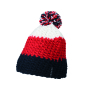 Crocheted Cap with Pompon navy/red/wit