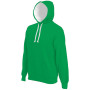 Hooded sweater met gecontrasteerde capuchon light kelly green / white 4xl