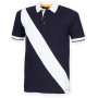 Diagonal stripe house cotton polo shirt navy / white s