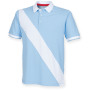 Diagonal stripe house cotton polo shirt sky blue / white m