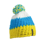 Crocheted Cap with Pompon geel/pacific blauw/wit