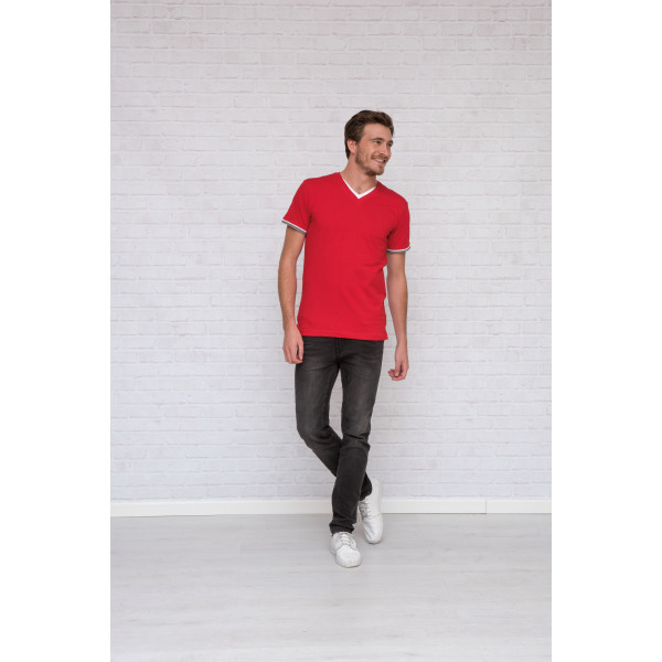 1263 T-shirt Double-V cot/elast SS for him