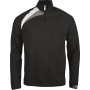 Trainingsweater met ritskraag black / white / storm grey l