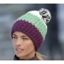 Crocheted Cap with Pompon paars/lime/wit