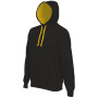 Hooded sweater met gecontrasteerde capuchon black / yellow 4xl