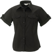 Ladies' roll sleeve twill shirt - short-sleeved