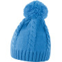Cable knit pom pom beanie sky blue one size
