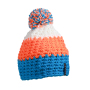 Crocheted Cap with Pompon pacific/neon oranje/wit