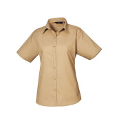Ladies Poplin Short Sleeve Blouse
