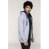 Men's contrast hooded full zip sweatshirt