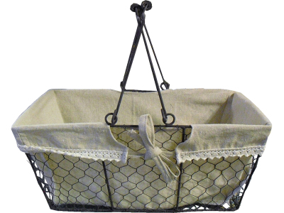 A rektangular metalbasket with 2 folding handles with fabric lining