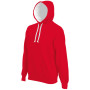 Hooded sweater met gecontrasteerde capuchon red / white l