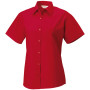 Ladies' ss pure cotton easy care poplin shirt classic red m