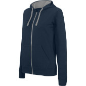 Ladies' contrast hooded full zip sweatshirt