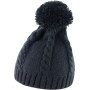 Cable knit pom pom beanie black one size