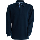 French rib - long-sleeved ribbed polo shirt