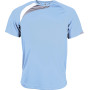 Kindersportshirt sky blue / white / storm grey 12/14