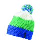 Crocheted Cap with Pompon aqua/lime/wit