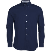 Men's long sleeve washed popeline shirt
