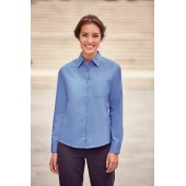 Ladies' long-sleeved pure cotton poplin shirt
